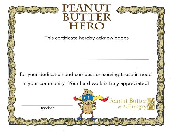 Peanut Butter Hero Certificate Color 600
